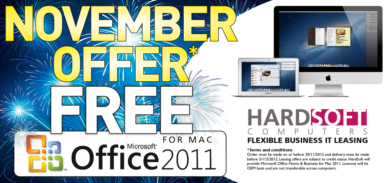 free  Microsoft Office 2011 with Apple Mac computersm on 0% finance