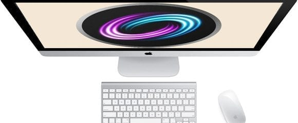 Top down view of the iMac