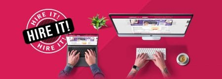 Short term hire Mac and laptop on pink background