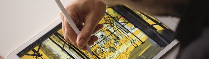 Apple Pencil being used on an iPad