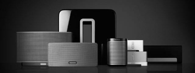 Front view of the Range of Sonos Speakers