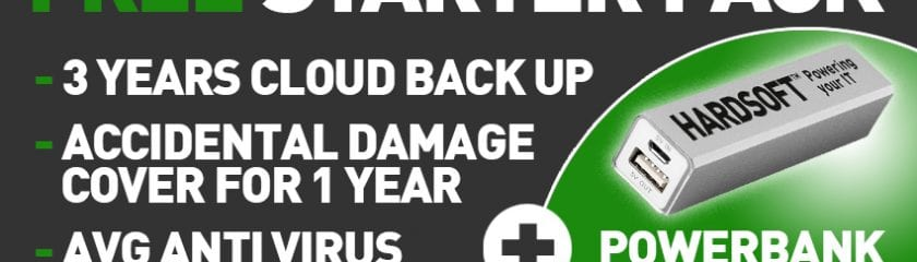 Free Starter Pack - 3 Years Cloud Back Up, Accidental Damage Cover for 1 Year, AVG Anti Virus and Powerbank Charger
