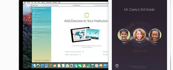 MacBook and iPad both showcasing Classroom Applications