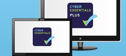 A display and a laptop both showing the Cyber Essentials Logo on