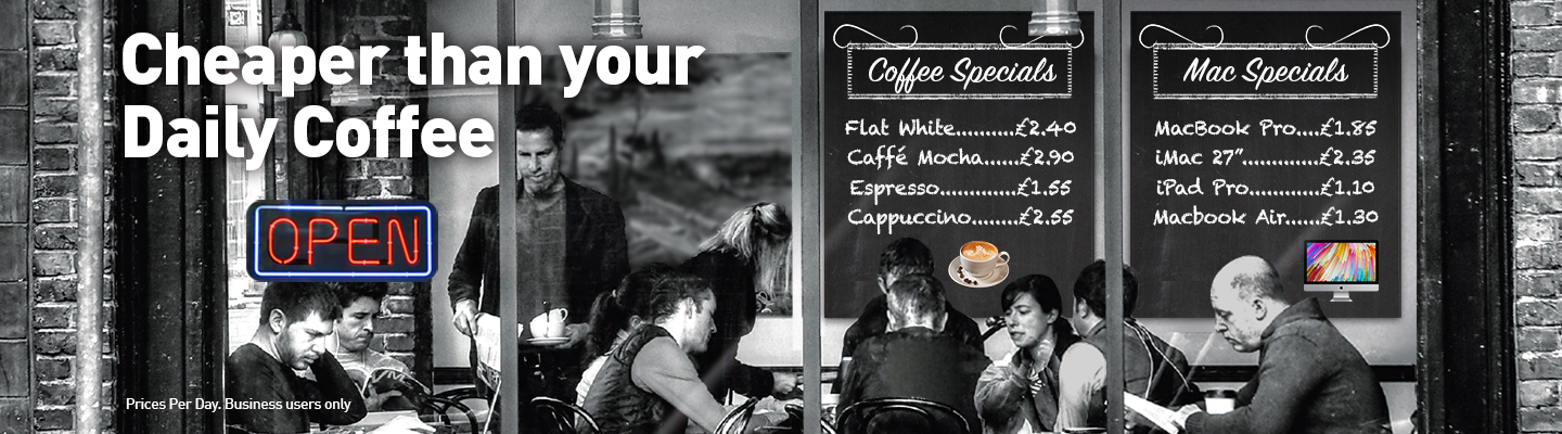 People drinking coffee in a coffee shop, deals are our computer Lease rates instead of a traditional menu.