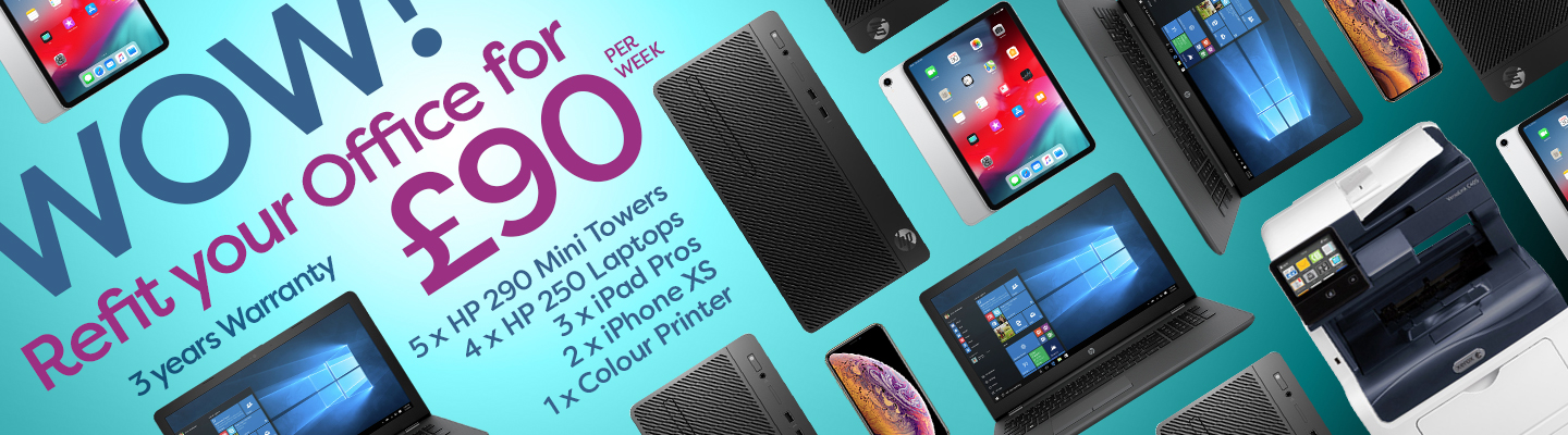 Re-fit your office with the newest PC & Apple devices for just £90 per week!