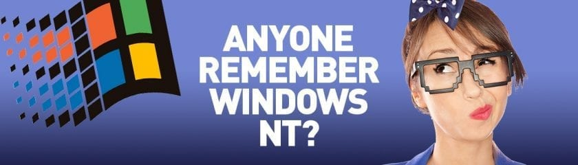 "Woman with pixelated glasses in thought with the caption ""Anyone Remember Windows NT?"""