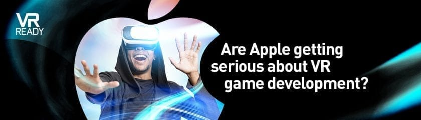 "Person amazed by the capabilities of a VR headset with the caption ""VR Ready - Are Apple getting serious about VR game development?"""