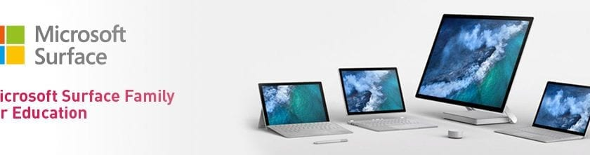 "Microsoft Surface Family with the Microsfot Surface logo and caption ""Microsoft Surface Family for Education"""