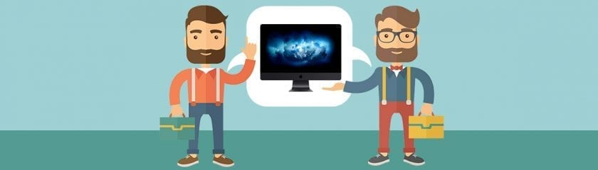 Animated characters discussing the iMac Pro