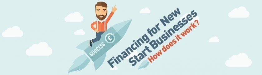 "Animated man on a success rocket with the caption ""Financing for New Start Businesses, How does it work?"""