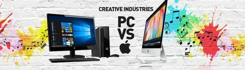 """HP Desktop and iMac with the caption """"Creative Industries PC vs Apple"""""""