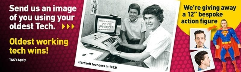 "Photograph of HardSofts founders in 1983 accompanied by the caption ""Send us an image of you using your oldest Tech. Oldest working tech wins! T&C's Apply."""