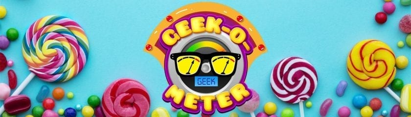 Geek-O-Meter logo surrounded by sweets