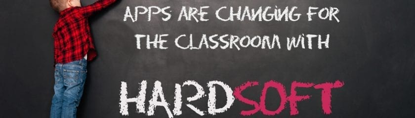 "Student writing ""Find out how Apple Apps are changing for the classroom with HardSoft"" on the chalk board"
