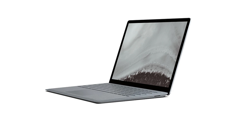 Acute angle of the Surface Laptop 2 in Platinum