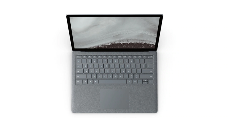 Top downThe Surface Laptop 2 in Platinum