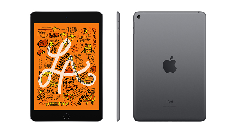 The Apple iPad Mini tablet Front, Back and Side-view