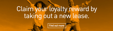 "Man and Woman jumping in joy with the caption ""Claim Your Loyalty Reward By Taking Out a New Lease. Find Out More"""