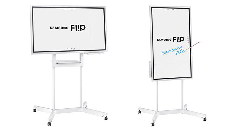 The Samsung Flip interactive display shown in both Portrait & Landscape modes