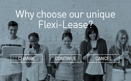 "Several People Looking At Phones with the caption ""Why Choose Our Unique Flexi-Lease? Change, Continue or Cancel"""