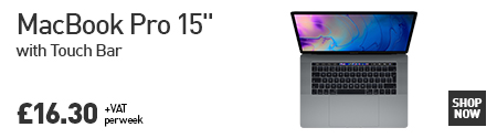 "MacBook Pro 15"" with Touchbar with the caption ""Macbook Pro 15"" with Touch Bar for £16.30+VAT per week"""