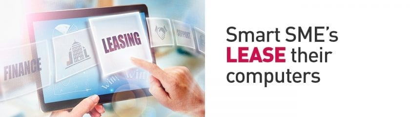 "Leasing highlighted on a Tablet with the caption ""Smart SME's LEASE their computers"""