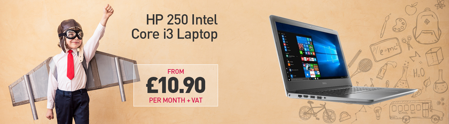 "Child in aviator costume with an HP 250 i3 laptop alongside the caption ""HP 250 Intel Core i3 Laptop from £10.90 per month +VAT"""