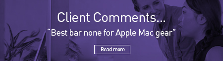 "Two people collaberating on an iMac with the caption ""Client Comments... ""Best bar none for Apple Mac gear"", Read more"""