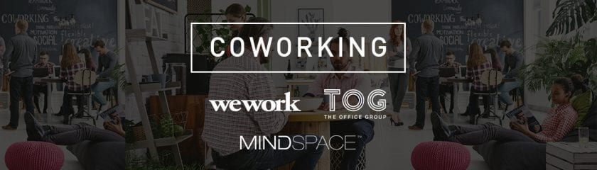 Coworking space in the background with WeWork, TOG (The Office Group) and MindSpace company logos infront.