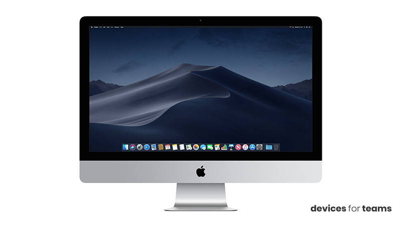 """Front view of the iMac 27"""" with Mojave onscreen. This is accompanied by the caption """"devices for teams"""""""