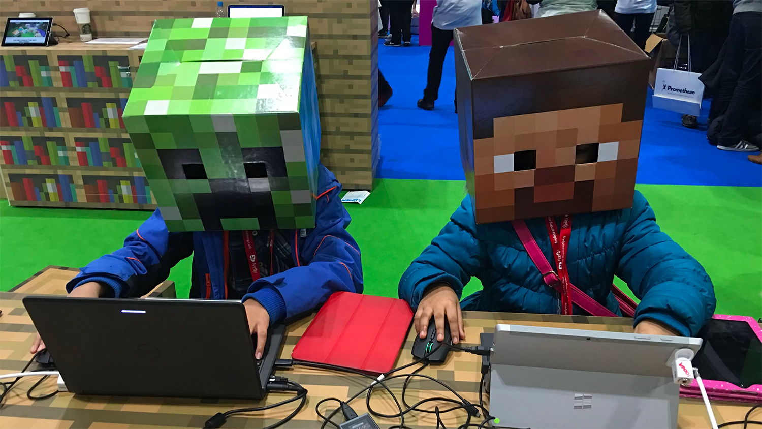 Two students build in Minecraft at BETT Conference Click here to find out more!