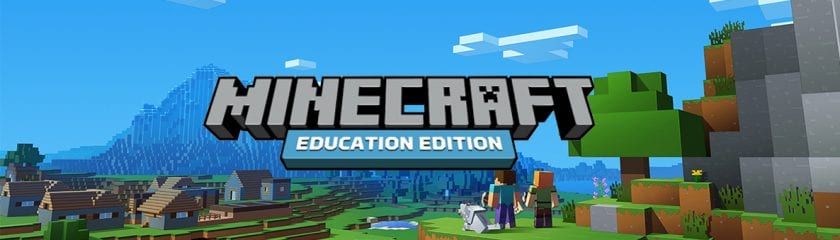 Minecraft for Education Edition Logo with Minecraft landscape behind