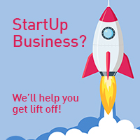 "Rocketship taking off with the caption ""StartUp Business? We'll Help You Get Lift Off!"""