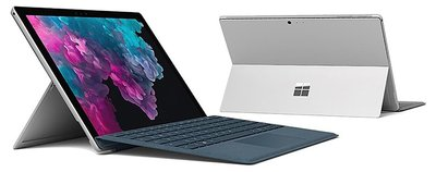 Front and back view of the Surface Pro 6 in Platinum