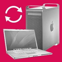 Mac Part Exchange recycle logo & old Mac desktop & notebook