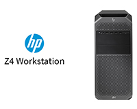 HP Z4 workstation from the front view with the name located to the left
