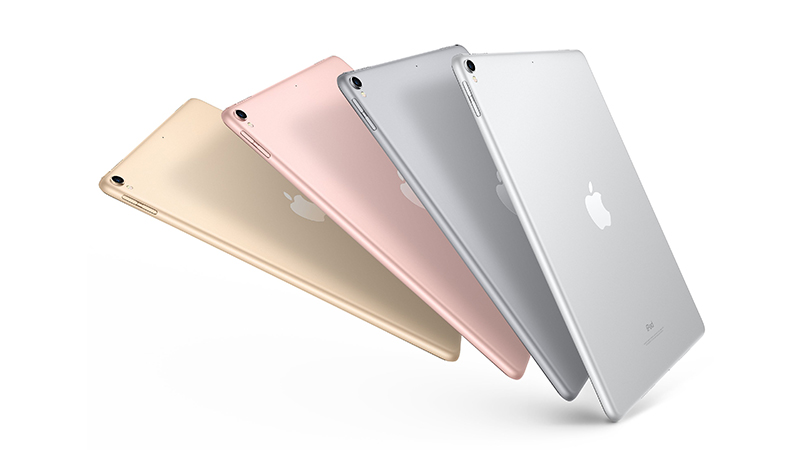 "The iPad Pro 10.5"" back view in various colours"
