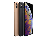 3x iPhone XS in Line, Colours Gold, Space Grey and Silver