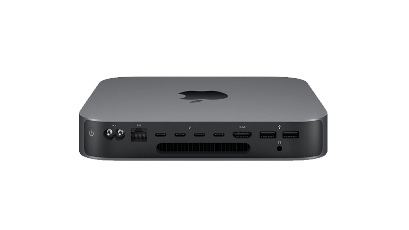Rear view of the Mac mini 2018 and its array of ports