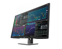 Acute angle view of the Dell Quad monitor display optimising the ability to view 4 Displays on a single screen.