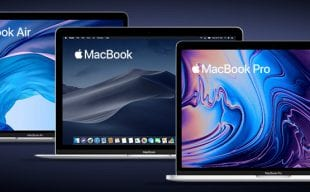 """MacBook Air, MacBook 12"""", and MacBook Pro 13"""" in a row, front view on."""