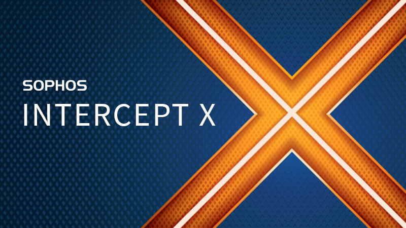 SOPHOS Intercept X with orange X logo and blue background.