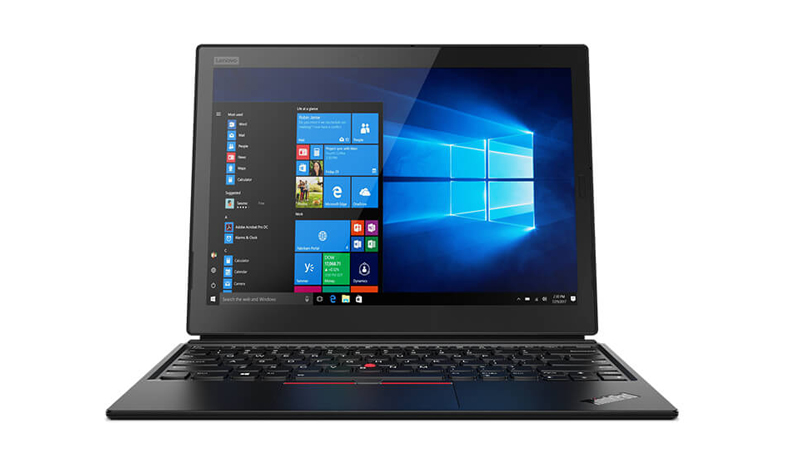 Open front view of The Lenovo ThinkPad X1 in Laptop mode