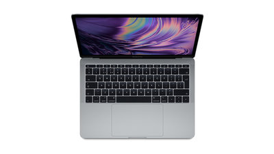 MacBook Pro 13-inch open front keyboard view