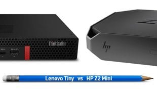 Lenovo Tiny and HP Z2 Mini Workstations with a pencil for size comparison