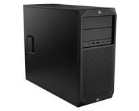 Front and side panel view of The HP Z2 G4 Workstation