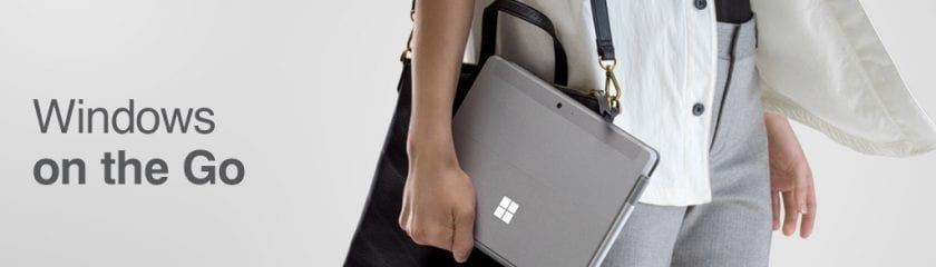 Person carrying the Microsoft Surface Go