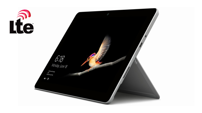 Front view of Microsoft Surface Go LTE resting on its stand