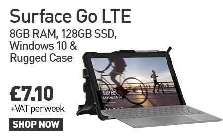 Rugged solution for Surface Go LTE: 8GB RAM, 128GB SSD, Windows 10 & Rugged Case available to lease for £7.10 per week!